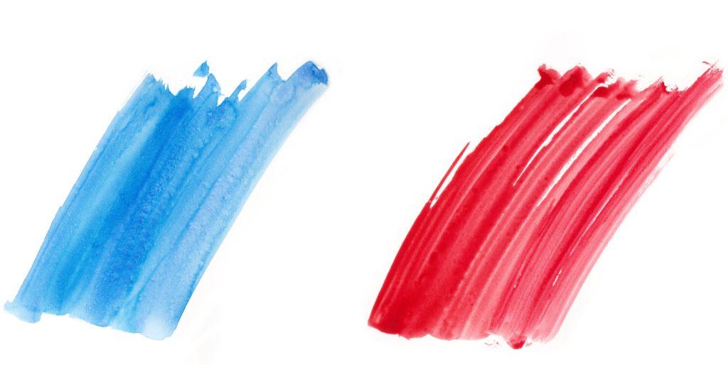 Die Farben rot und blau um eine warme und eine Kalte Farbe zu verdeutlichen.